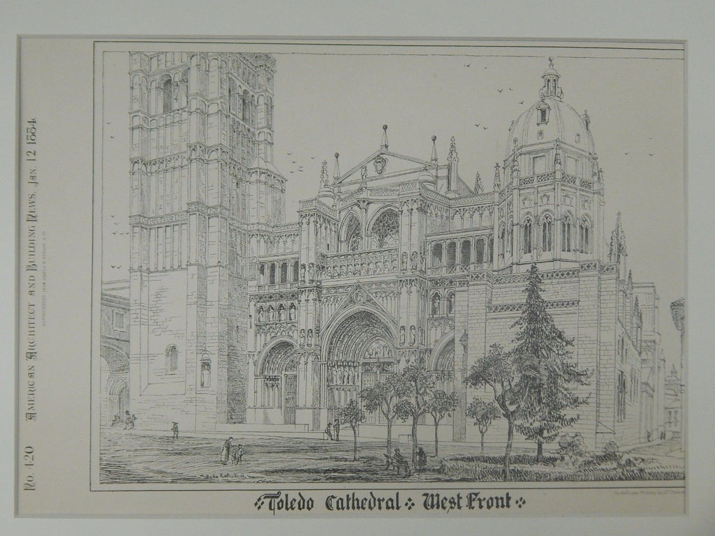 West Front Perspective, Cathedral, Toledo, Spain, 1884, Original Plan.