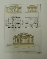 Competitive Design for the Carnegie Library, Montgomery, AL, 1901. Original Plan. Barnett, Haynes, & Barnett.