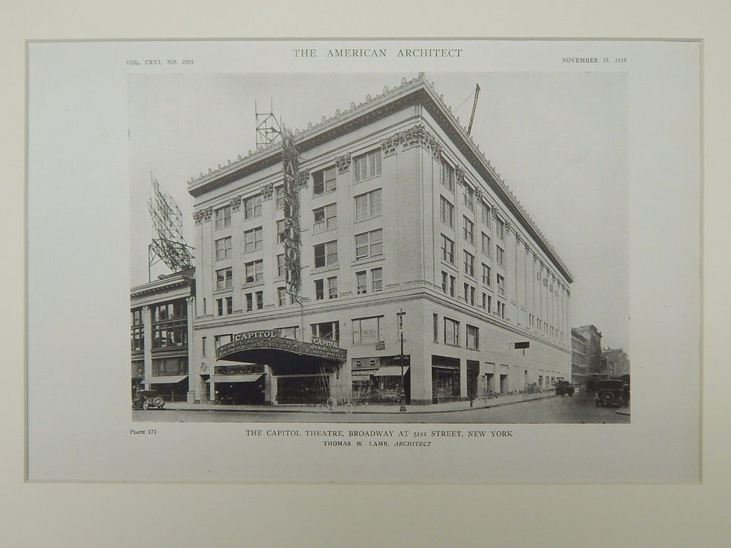 Exterior, The Capitol Theatre, Broadway & 51st, New York, NY, 1919, Lithograph. Thomas W. Lamb.