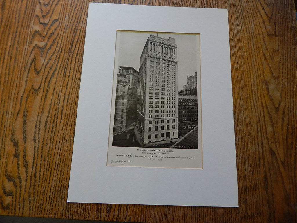 Exterior, New York Cotton Exchange Building, New York, NY, 1924, Lithograph. Donn Barber.