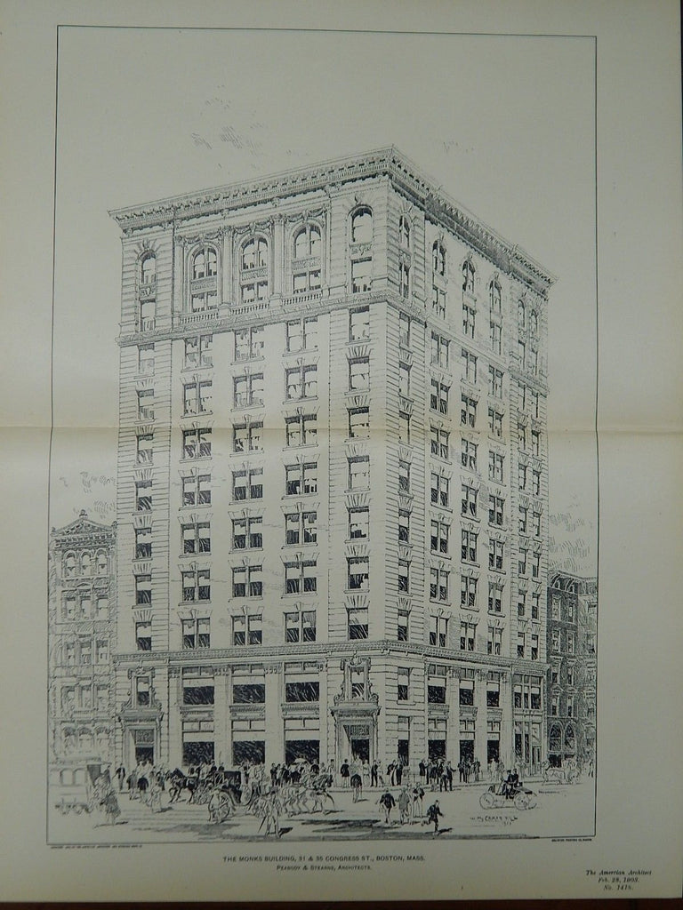 The Monks Building, 31 & 35 Congress St., Boston, MA, 1903, Original Plan. Peabody & Stearns.