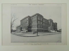 Blodgett Vocational High School, Syracuse, NY, 1921, Lithograph. James A. Randall.