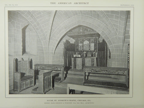 Altar, St. Andrew's Chapel, Chicago, IL, 1914, Lithograph. Cram, Goodhue & Ferguson.