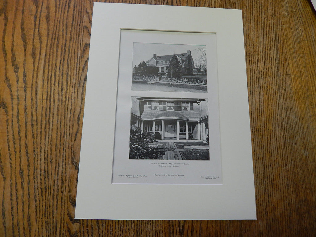 Cottage of Harding,ESQ.,Brookline, MA,1905,Lithograph. Chapman & Frazer.