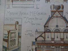 Madison Ave. M.E. Church, New York, NY, 1884, Original Plan. R.H. Robertson.