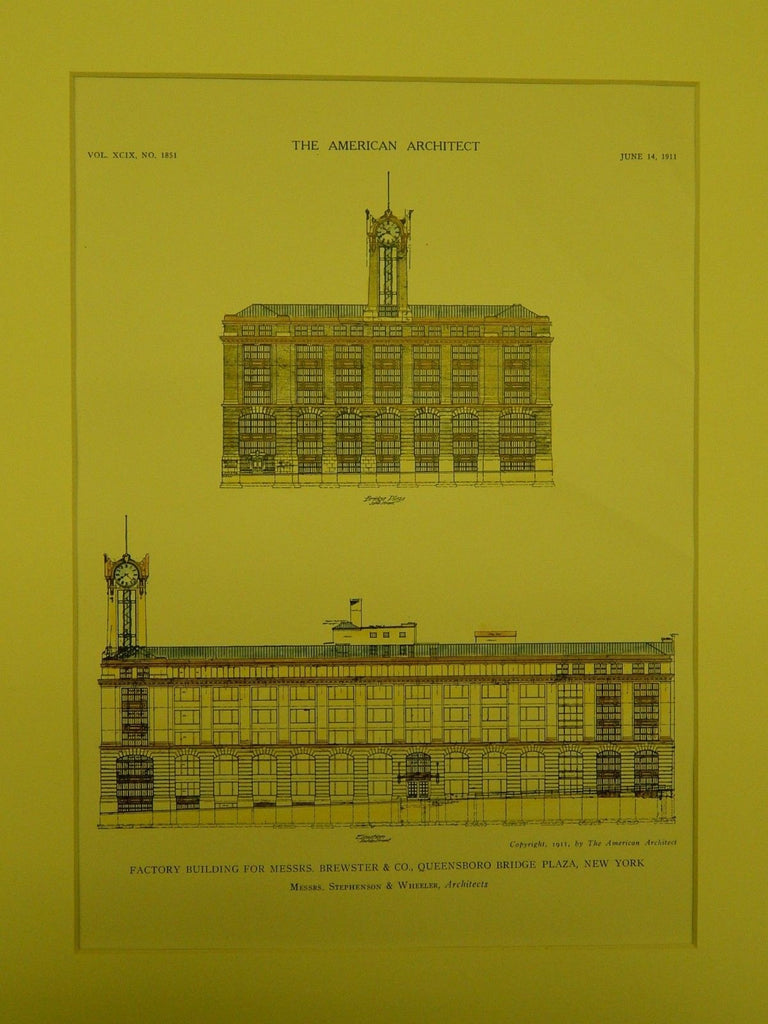 Factory for Messrs. Brewster & Co., Queensboro Bridge Plaza NY, 1911. Stephenson & Wheeler