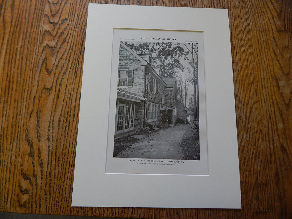 House of H.T. Saunders, ESQ, Germantown, PA,Lithograph,1915. Duhring, Okie & Ziegler