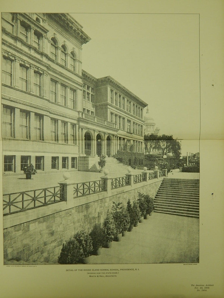 Detail of the Rhode Island Normal School, Providence, RI, 1902, Lithograph.  Martin & Hall