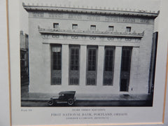 First National Bank,Stark & 5th Street, Portland, OR, 1918, Lithograph. Coolidge & Carlson.