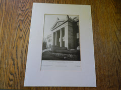 Portico Norfolk County Register of Deeds, Dedham, MA.,1905, Lithograph. Peabody & Stearns.
