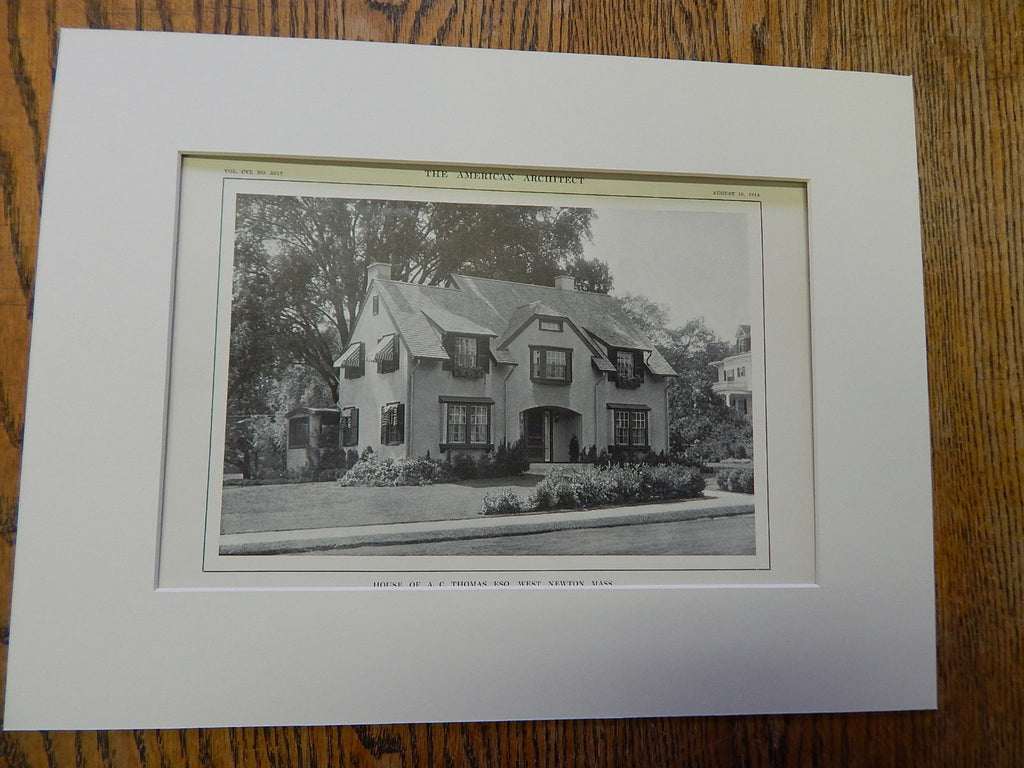 House of A.C.Thomas,ESQ.,West Newton,MA, 1914, Lithograph. Loring & Phipps.