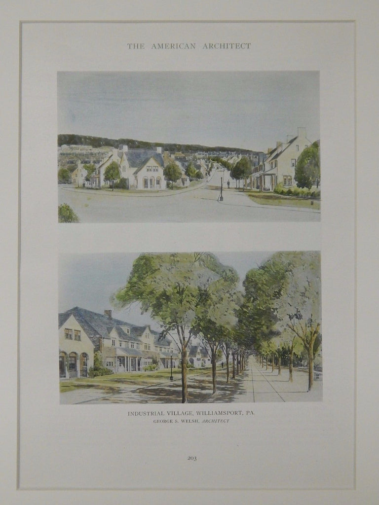 Industrial Village, Williamsport, PA, 1918, Original Plan. George S. Welsh.