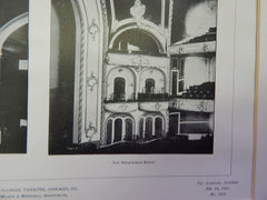 The Illinois Theatre 1, Chicago, IL, 1901,Lithograph. Wilson & Marshall.