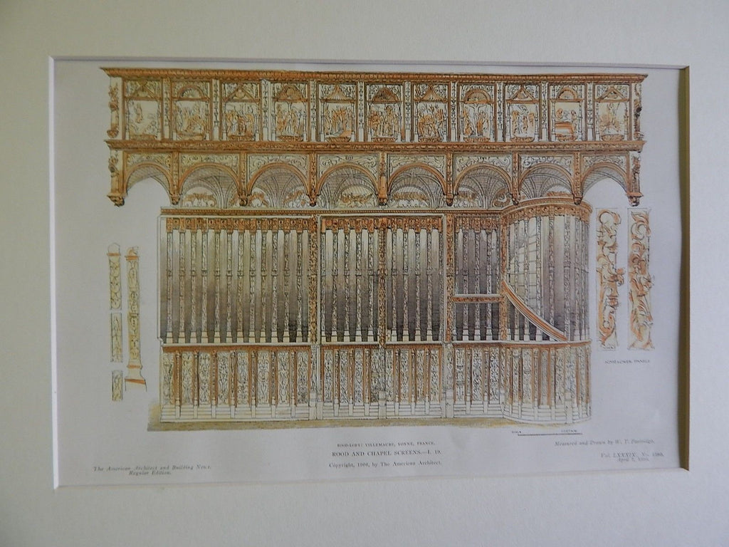Rood & Chapel Screens, Villemaure, Yonne, France, 1906, Original Plan.