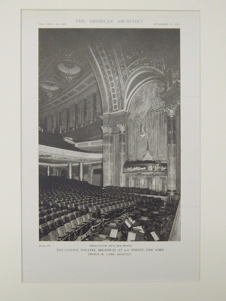 Proscenium Arch & Boxes, The Capitol Theatre, New York, NY, 1919, Lithograph. Thomas W. Lamb.
