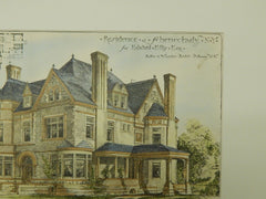 Residence for Edward Ellis, Esq., Schenectady, NY, 1885, Original Plan. Fuller & Wheeler.
