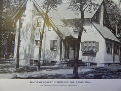 House of Robert H. Johnson,ESQ., Waban, MA, Lithograph,1914. Kellogg.