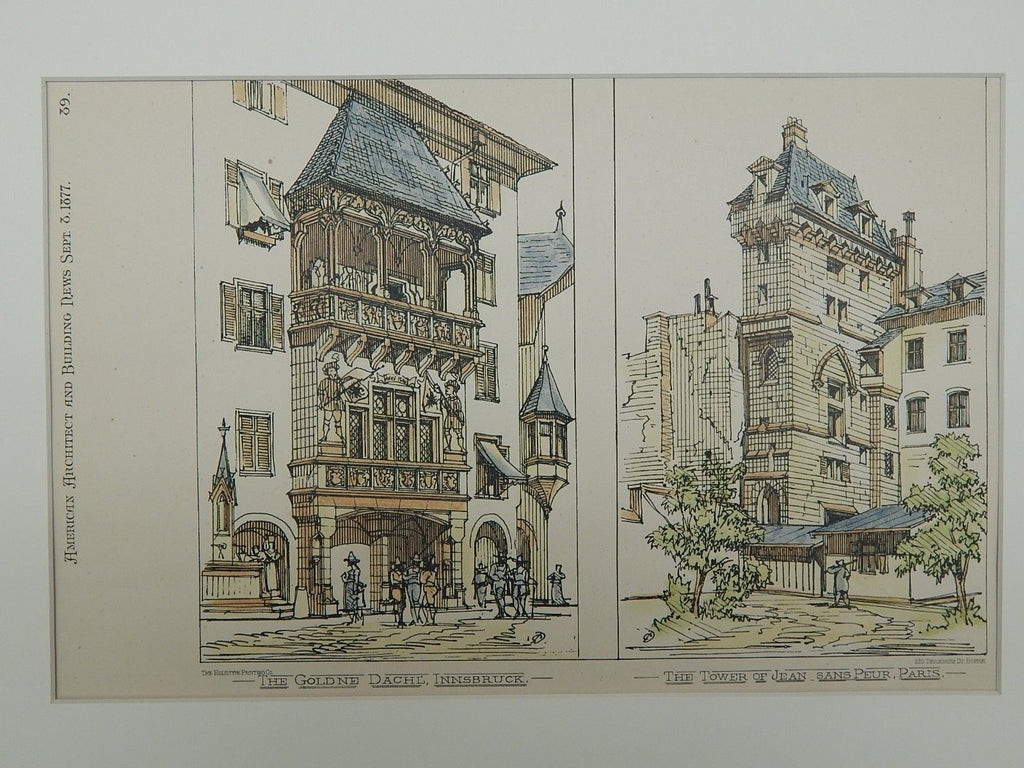 Goldne Dachl' in Austria & Tower of Jean in Paris, France. 1877. Original