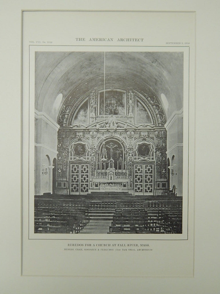 Reredos for a Church at Fall River, MA, 1914, Lithograph. Cram, Goodhue & Ferguson.