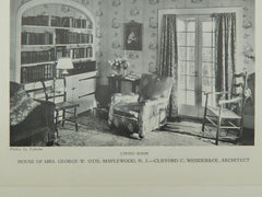 Living Room, House of Mrs. George W. Otis, Maplewood, NJ, 1928, Lithograph. Clifford C. Wendehack.
