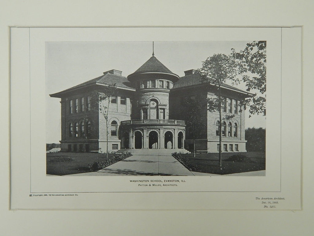 Washington School, Evanston, IL, 1903, Photogravure. Patton U0026 Miller.