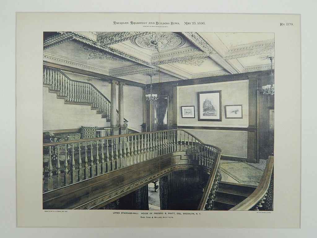 Upper Staircase, House of Frederic B. Pratt, Brooklyn, NY, 1898, Photogravure. Babb, Cook & Willard.