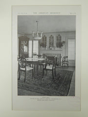 Dining Room, House of Mr. John W. Griffin, Fieldston, NY, 1921, Lithograph. Dwight James Baum.