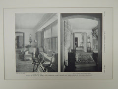 Living Room & Hall, House of Ellery S. James, East Hampton, NY, 1929, Lithograph. Roger H. Bullard.