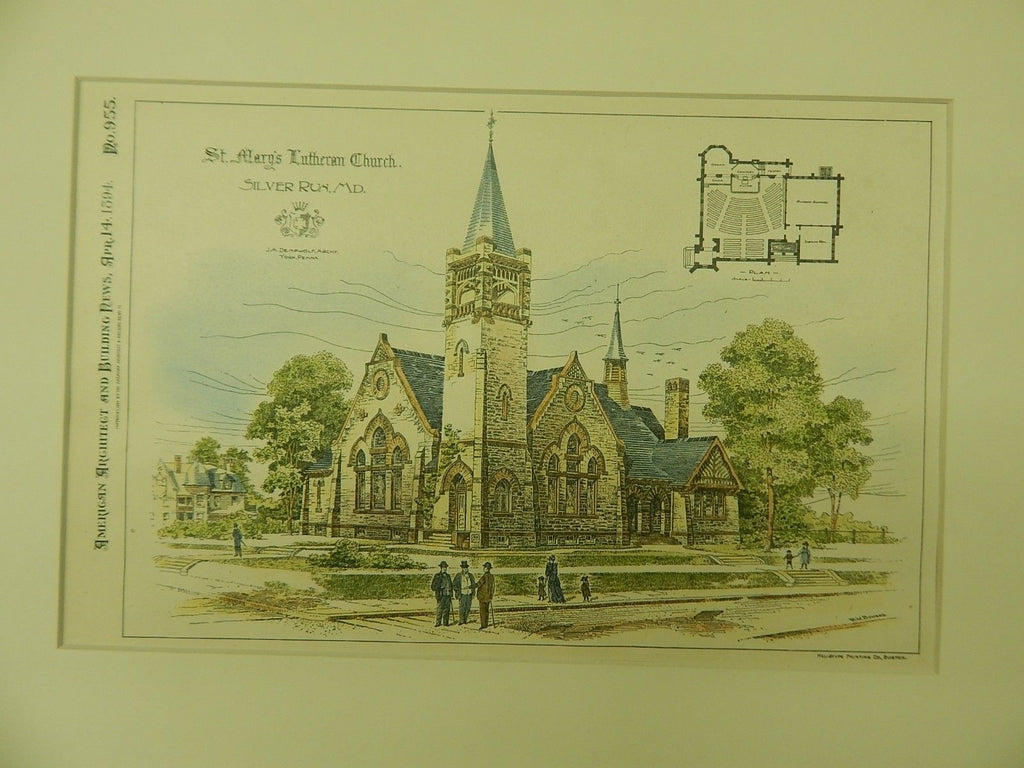 St. Mary's Lutheran Church, Silver Run, MD, 1894, Original Plan. J.A. Dempwolf.