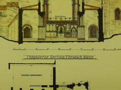 Transverse Section, St. David's Cathedral, South Wales, UK, 1882, Original Plan. T. Taylor Scott.