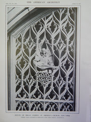 Detail of Organ Screen, St. Thomas's Church, NY, 1914, Lithograph. Cram, Goodhue & Ferguson.