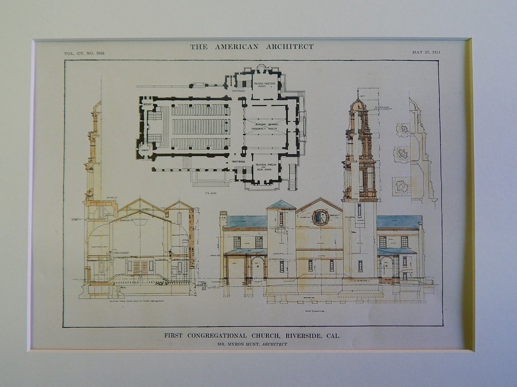First Congregational Church, Riverside, CA, 1914, Original Plan. Myron Hunt.