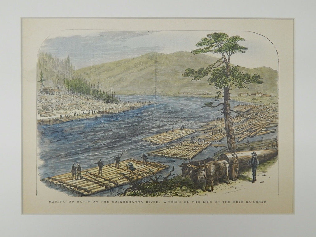 Rafts on the Susquehanna River, 1883, Original Scene, America Illustrated.