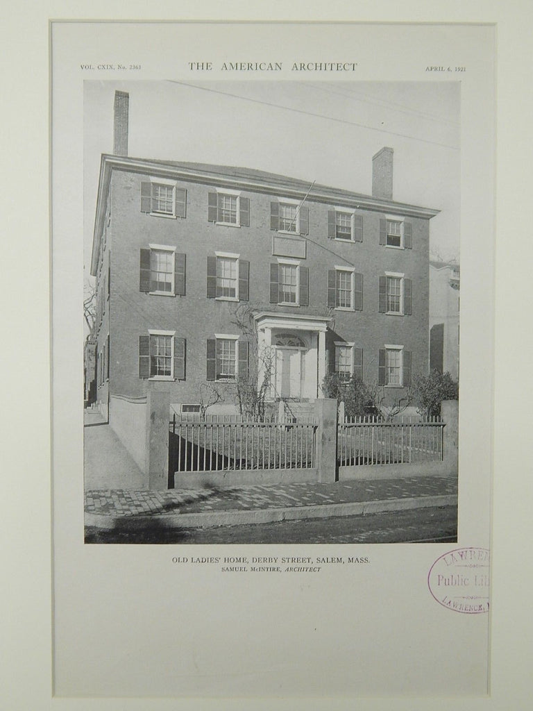 Old Ladies' Home, Derby Street, Salem, MA, 1921, Lithograph. Samuel McIntire.
