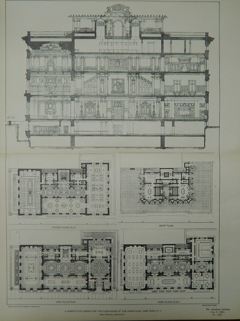 Competitive Design, Club-House of the Union Club, New York, NY, 1901, Orig. Plan. Donn Barber.