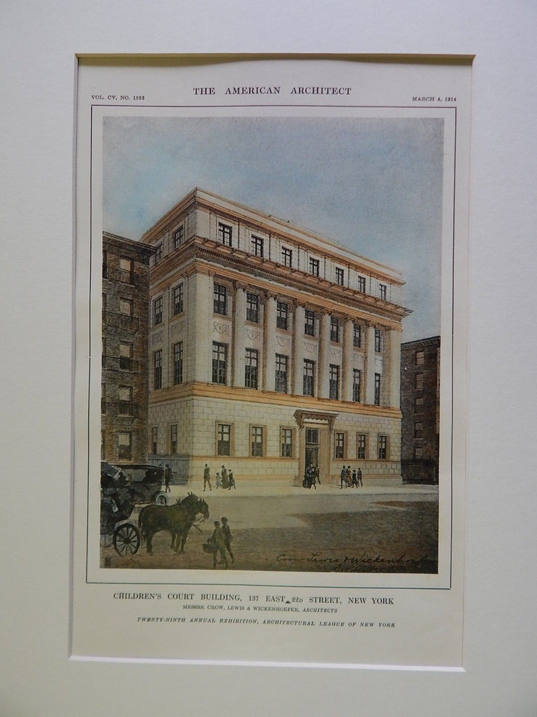 Children's Court Building, 137 E. 22nd St., NY, 1914, Original Plan. Crow, Lewis & Wickenhoefer.