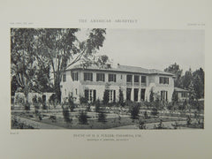 Exterior, House of H. A. Fuller, Pasadena, CA, 1918, Lithograph. Reginald D. Johnson.