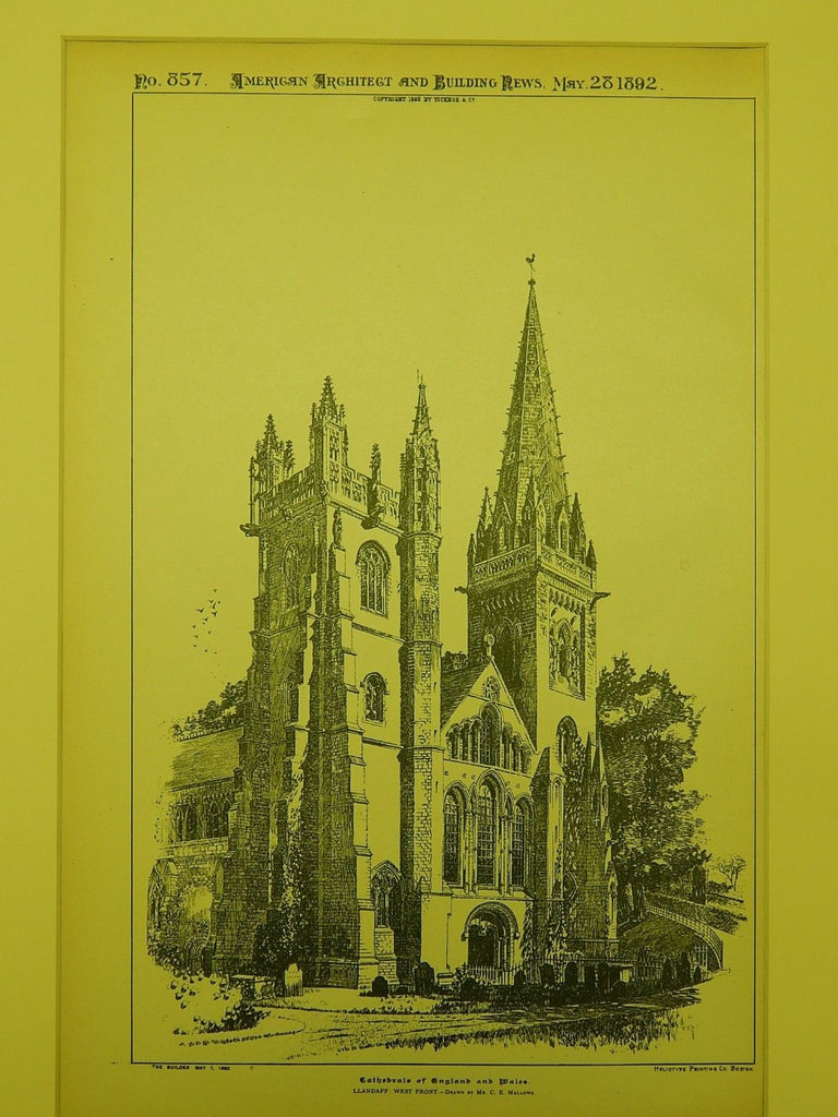 Llandaff Cathedral in Llandaff, Wales, 1892. Original Plan
