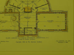 Floor Plans, Library, Furman University, Greenville, SC, 1906, Original Plan.  Frank E. Perkins.