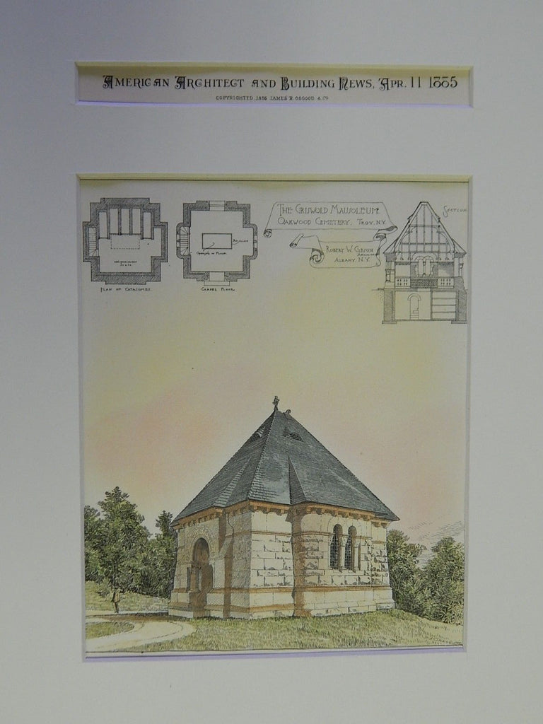 Griswold Mausoleum, Oakwood Cemetery, Troy, NY, 1885. Original Plan. R.W Gibson.