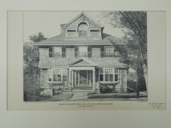 House of Benjamin Kimball, Park Lane, Jamaica Plain, MA, 1903, Photogravure. A. H. Dood