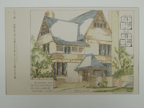 Residence for Mr. R. Elton Mills, Newport, KY, 1884, Original Plan. Oliver C. Smith.