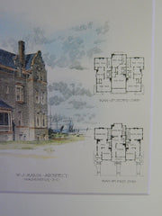 Houses for Lieut L.W.T. Waller at Ghent, Norfolk, VA, 1894. Original Plan. W.J. Marsh.
