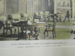 House Reading Room, Library of Congress, Washington D.C., 1893. Colored Photograph. Smithmeyer&Pelz.