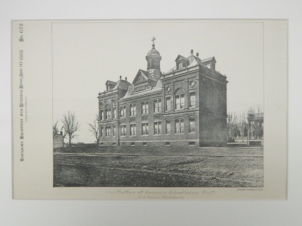 Our Mother of Sorrows Schoolhouse, Philadelphia, PA, 1888, Lithograph. J.J. Deery.