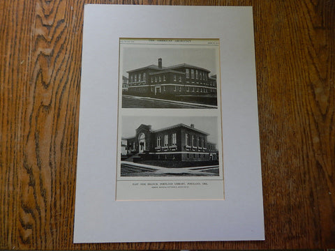 East Side Branch,Portland Library,Portland,OR, Lithograph,1914. Doyle & Patterson.