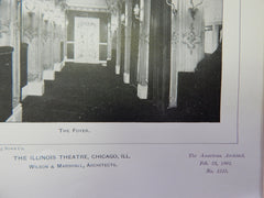 The Illinois Theatre 2,Chicago, IL, 1901,Lithograph. Wilson & Marshall.
