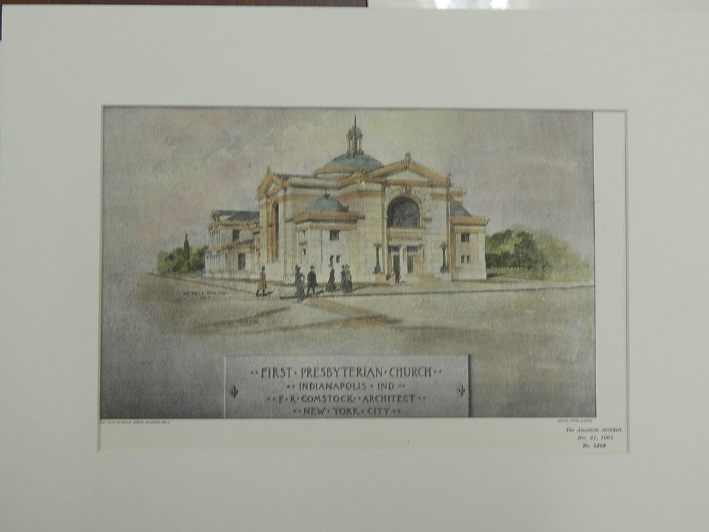 First Presbyterian Church, Indianapolis, Indiana, 1901. Original Plan. Comstock.