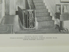 Hallway, Second Floor, Pierce-Nichols House, Salem, MA, 1921, Lithograph.  Samuel McIntire.