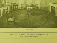 Hall & Dining Room, A. B. Spreckels House, San Francisco, CA, 1914, Lithograph.  G. A. Applegarth.